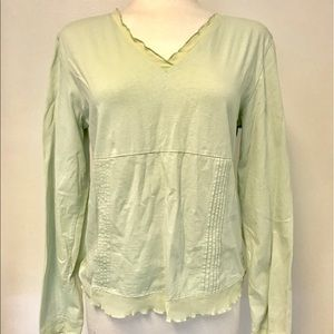 Soft summer weight knit top with chiffon edging